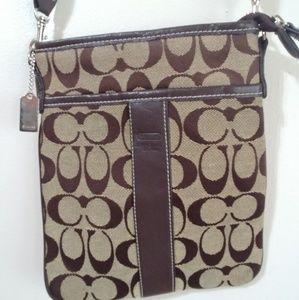 Brown C purse khaki embroider Crossbody messenger